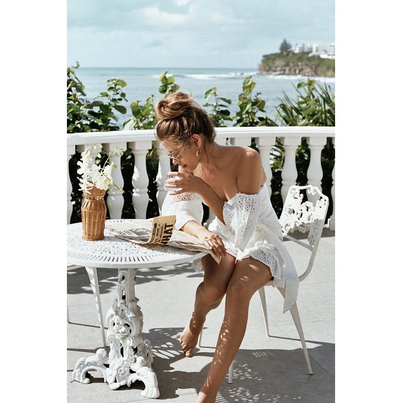 抹胸连衣裙夏2019新款一字领露肩荷叶边连衣裙短裙海边度假沙滩裙限10000张券