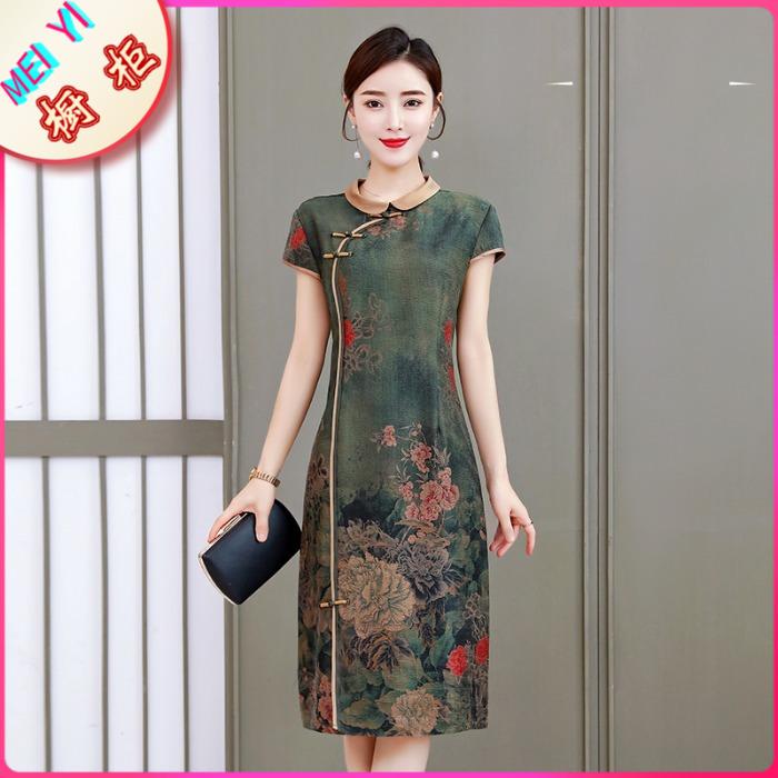 重磅真丝连衣裙夏桑蚕丝复古35-45中年妈妈高端改良款香云纱旗袍