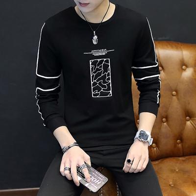 2018新款男装印花长袖爆款T恤 聚酯纤维95%氨纶5%T恤类目 w101p35