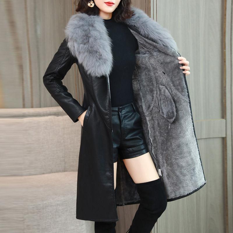 C 大毛领秋季皮衣女加绒加厚中长款韩版新款修身显瘦收腰皮外套