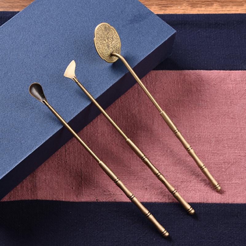 见素热销 铜制复古色香具三件套 打篆香道用具香铲香勺香押R302M Изображение 1