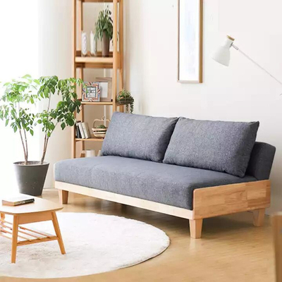 Nordic solid wood foldable and washable sofa bed multifunctional small apartment living room furniture simple and modern dual-use sand