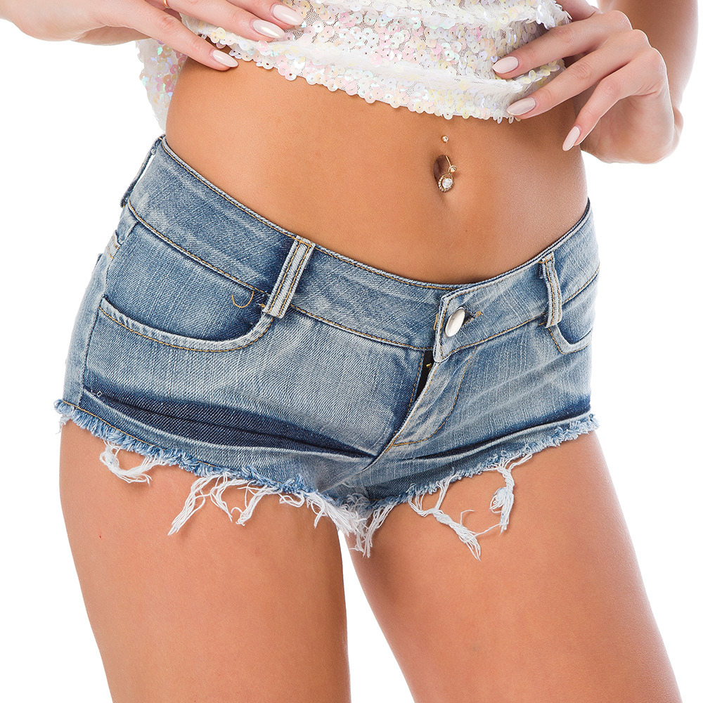 Nightclub DJ bar DS sexy gogo lead dancer stage performance low waist jeans shorts hot pants jeans