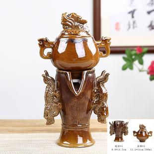 龙腾万里自动泡茶器时来运转窑变石磨龙凤茶壶功夫茶具懒人泡茶器