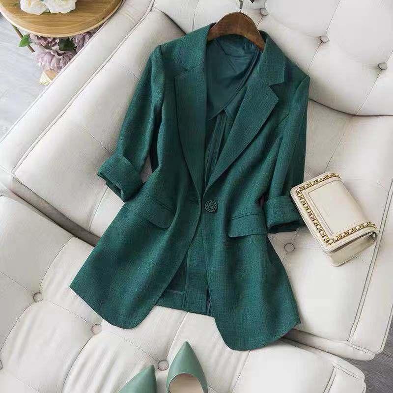 衬托气质的祖母绿色!高端定制日系小西服外套修身精品女士西装