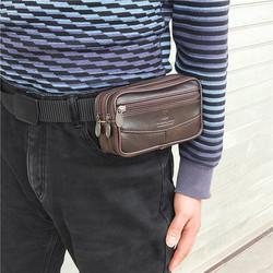 装手机的腰包穿皮带老年人手机袋裤腰带钱包真皮竖款男爸爸爷爷用
