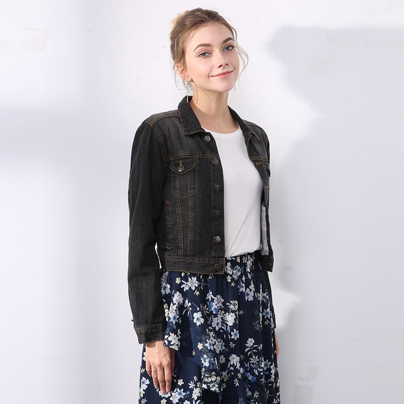 Early autumn new versatile Coat Black Denim coat womens locomotive style casual short coat cotton fashion jacket
