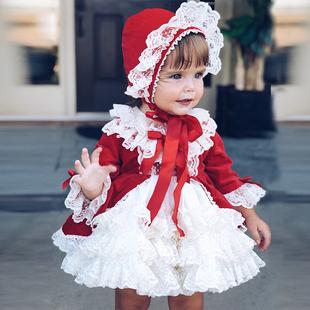 女童連衣裙秋冬宮廷風兒童蓬蓬裙寶寶週歲禮服超洋氣公主裙4件套