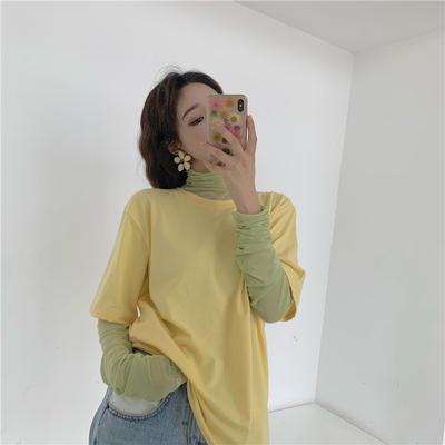 夏季新款韩版糖果色网纱堆堆褶皱袖上衣女潮简约纯色宽松短袖T恤