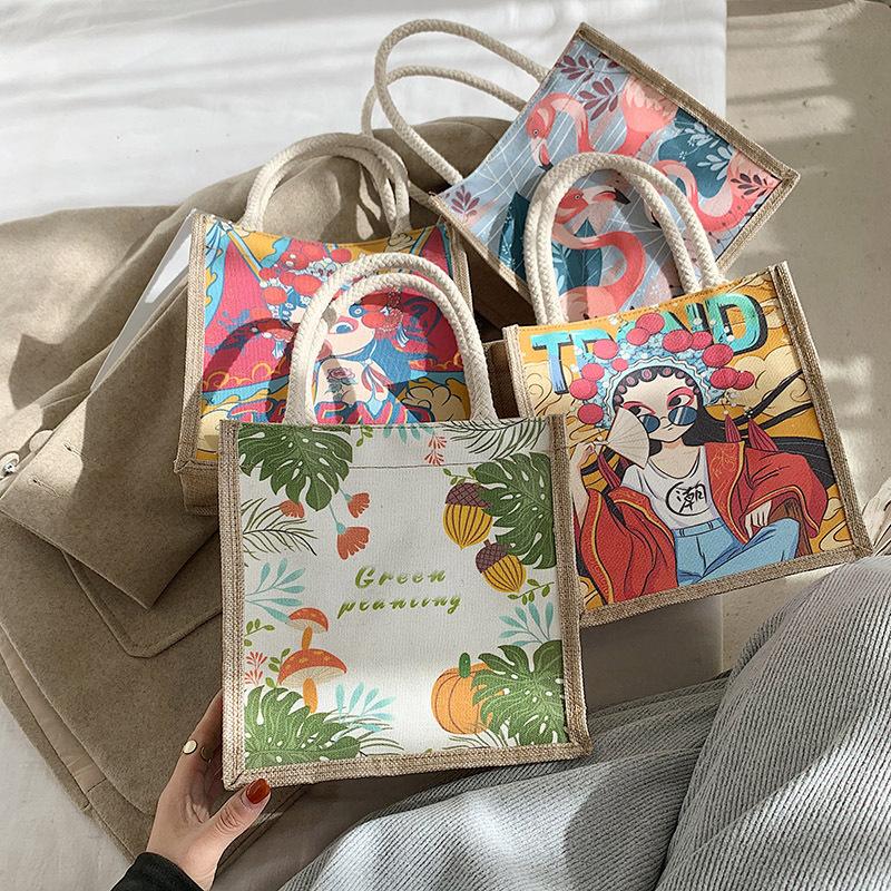 中国风印花手提包2020新款潮时尚民族风格购物袋京剧个性创意网红