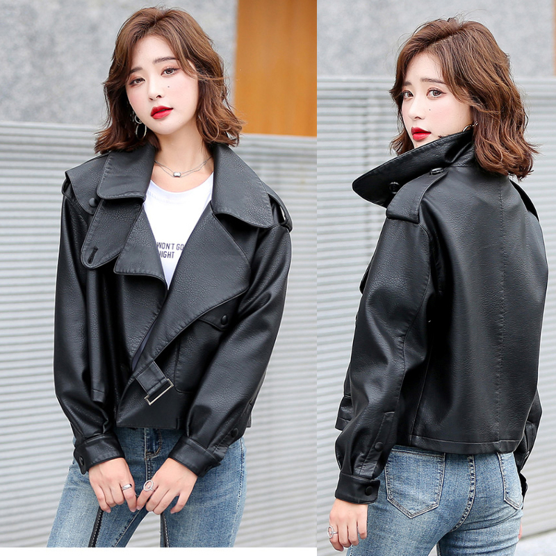 Jiang Shuyings same 2021 spring and autumn washed leather clothes womens European locomotive jacket short loose coat Cape Street