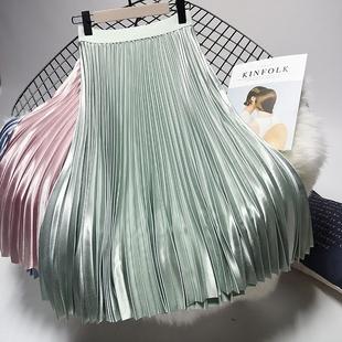 緞面金屬色百褶裙女2020秋冬新款中長款高腰chic仙女垂感半身裙子