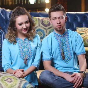刺绣衬衣夏情侣装立领七分袖新疆民族风绣花衬衫男女kanway雪纺衫
