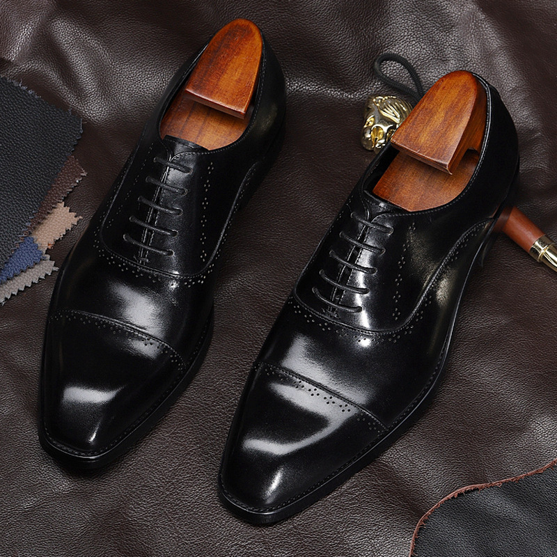 Hamus mens shoes new fall 2019 top layer cowhide three joints square head business dress shoes lace up Oxford Shoes