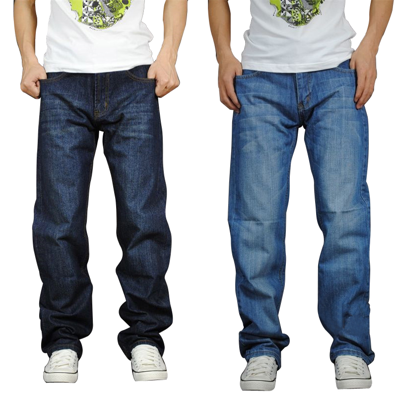 Autumn and winter Plush loose jeans mens straight tube plus fat plus size fat man Korean casual wide leg fat man middle age