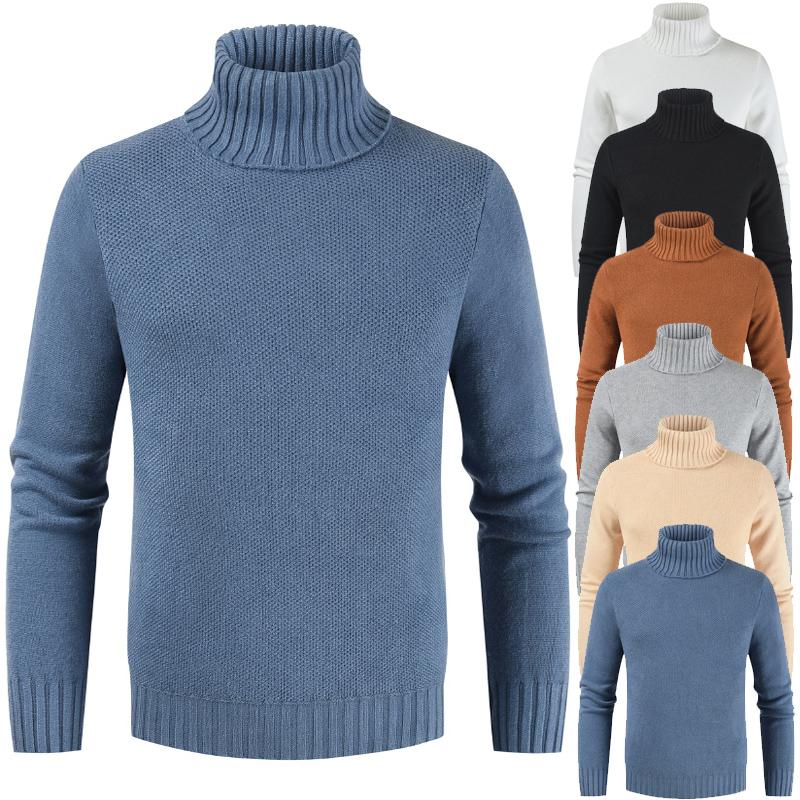 2019秋冬跨境外贸新款男式套头男韩版修身高领纯色毛衣DL312-P45