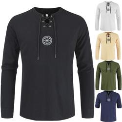 棉麻衬衫男士夏季新款开衫圆领时尚两用袖长袖亚麻衬衫DL291-P35