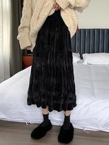 大码复古褶皱黑色半身裙中长款裙子女胖MM秋冬高腰显瘦a字伞裙