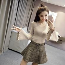 木耳边喇叭袖针织衫秋冬新款韩版修身圆领套头长袖上衣女