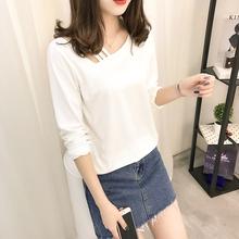秋冬季新款韩版纯色百搭漏肩长袖T恤女学生装打底衫斜领