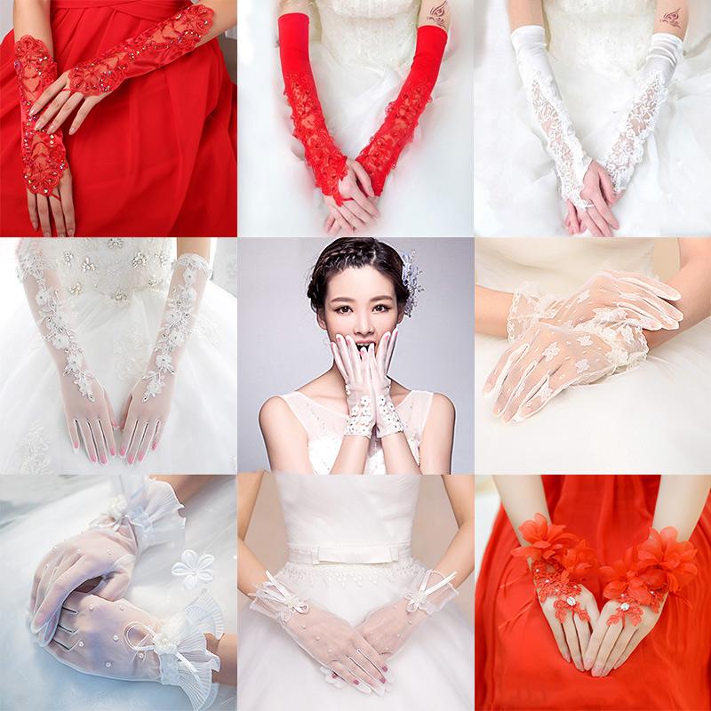 Невеста свадьба перчатки красные кружевные цвет белый выйти замуж перчатки свадьба свадьба перчатки краткое модель длинная модель атлас перчатки