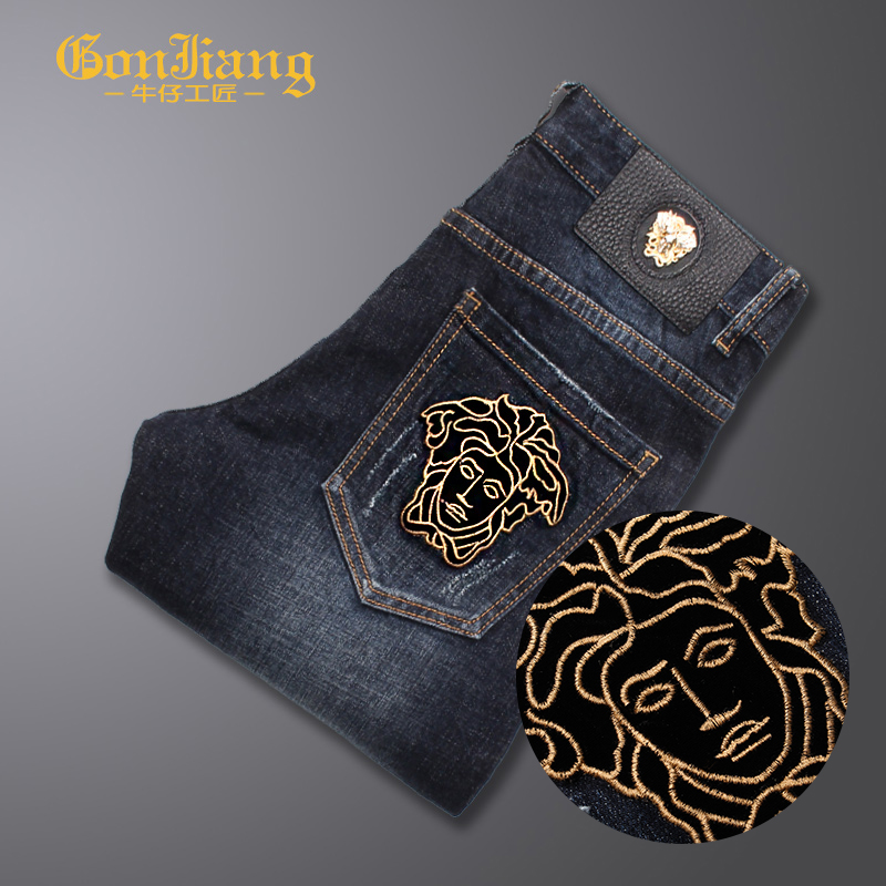 Autumn and winter 2020 new Medusa embroidered dark blue casual Korean mens slim fit small foot color contrast jeans