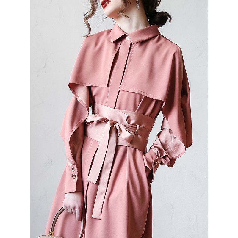 [buy 3 get 1 free] windbreaker womens middle and long small 2021 spring dress new Korean style fashionable over knee jacket thin