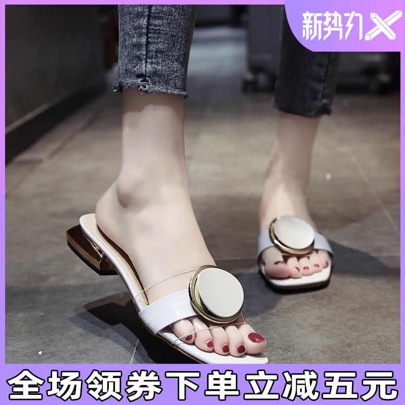 夏季拖鞋女时尚外穿2020新款网红凉拖中跟超火百搭韩版休闲一字拖