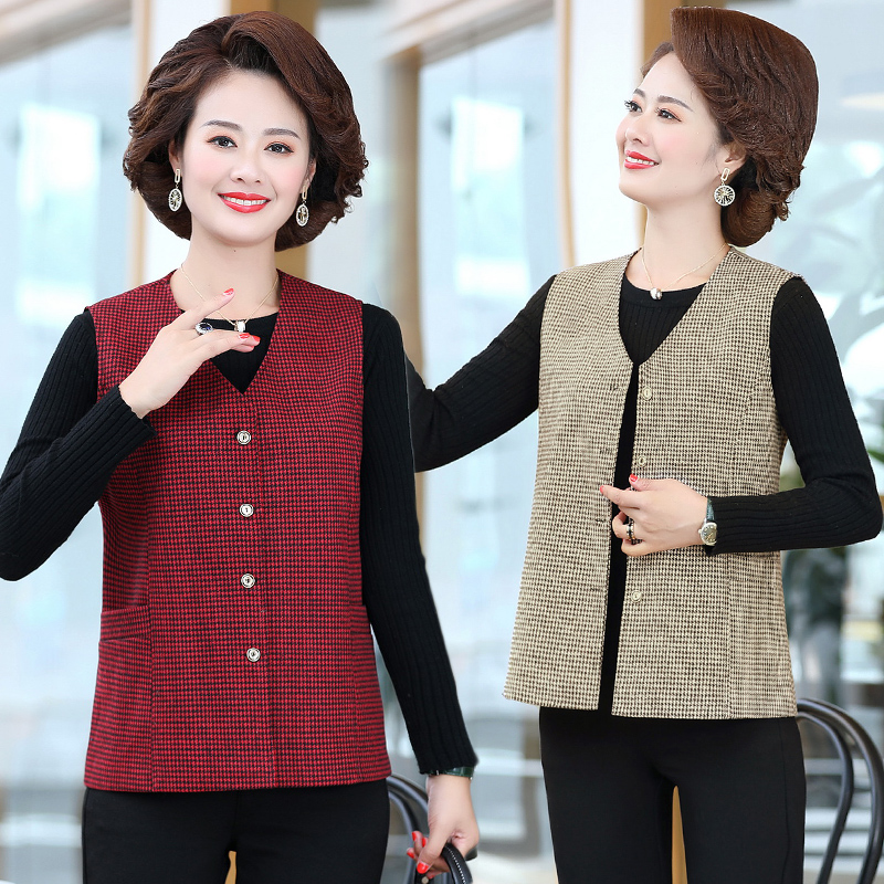 Spring and autumn new fine Plaid sleeveless cardigan vest vest for middle-aged and old people
