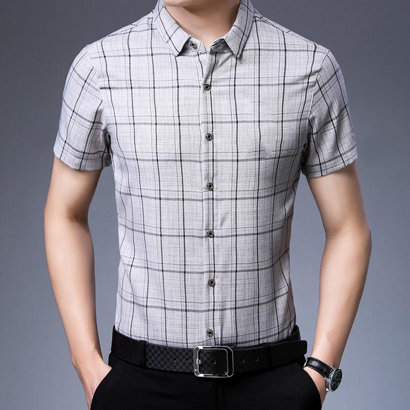 Yxcq40-48264d Plaid short sleeve shirt summer middle-aged Short Sleeve Plaid Shirt thin summer casual shirt