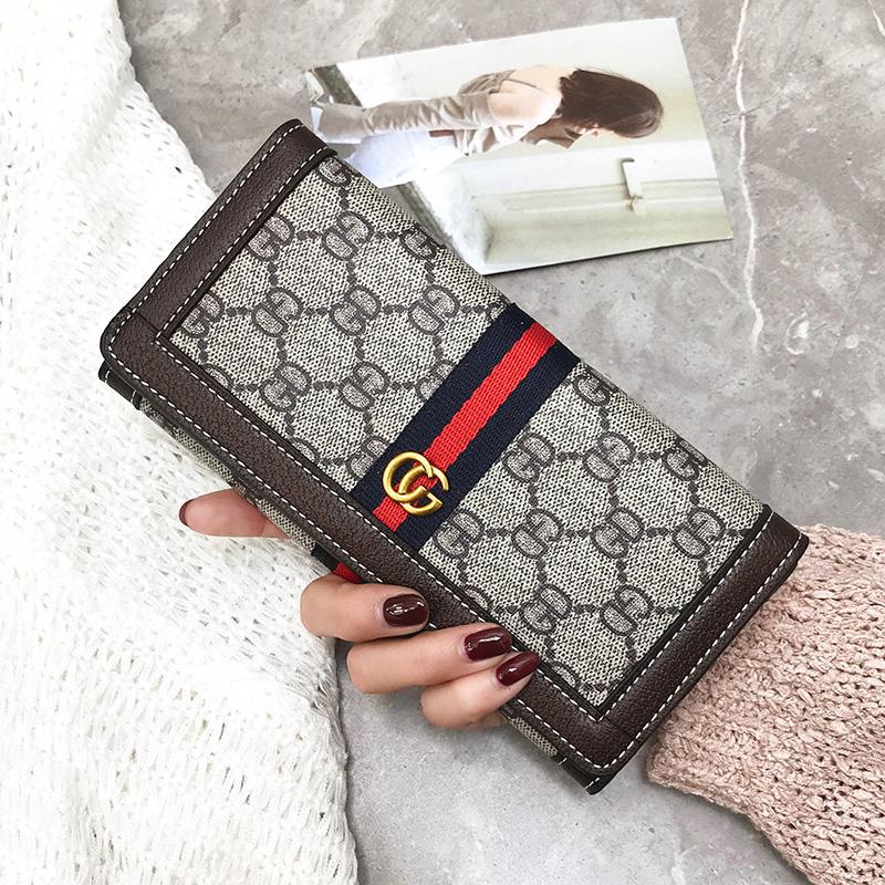 欧美潮2018新款男包女包钱包长款两折印花钱包女士长款手拿包钱夹