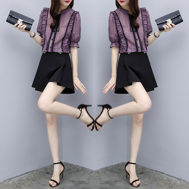 2018新款韩版两件套裤短袖雪纺上衣搭配阔腿短裤时尚洋气套装女夏