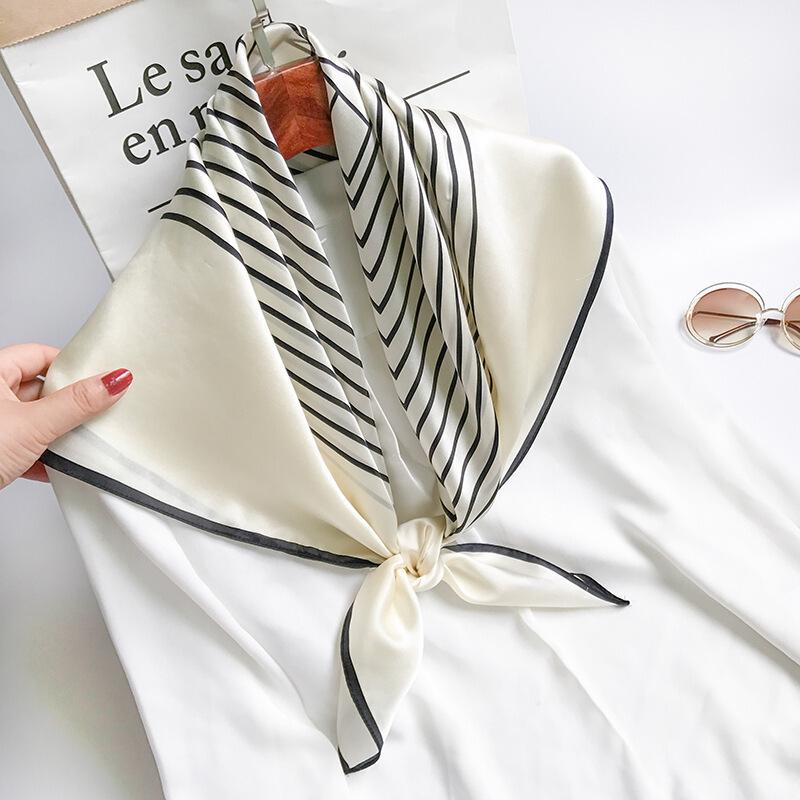 真丝丝巾条纹披肩北欧简约风大方巾百搭春夏季杭州丝绸围巾桑蚕丝