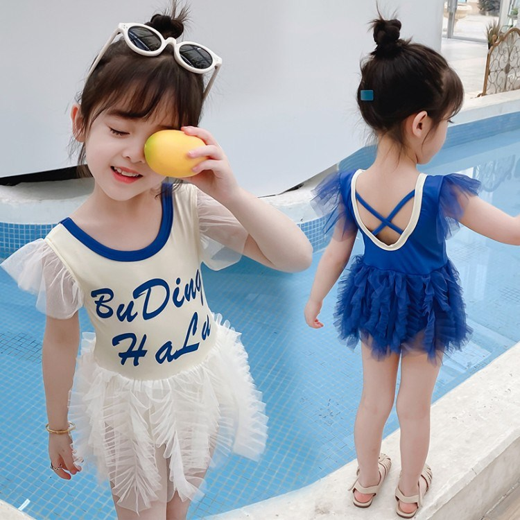 Girls one-piece swimsuit sweet 3-8 years old 2 childrens swimsuit ruffled backless yarn skirt baby princess dress