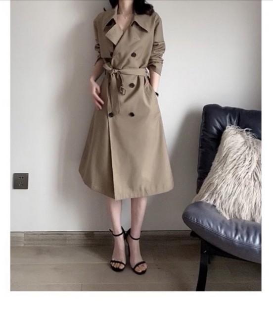 Factory direct supply European single spring and autumn classic British style deep Khaki popular loose temperament womens medium length windbreaker