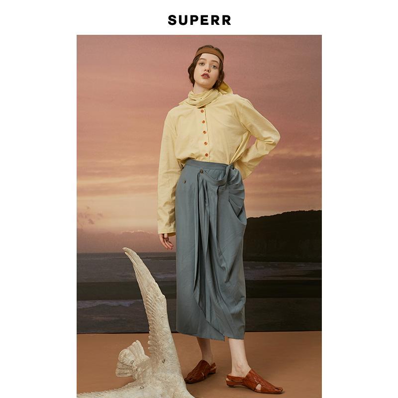 SUPERR vol.12 蓝色不规则褶皱一片式半身裙