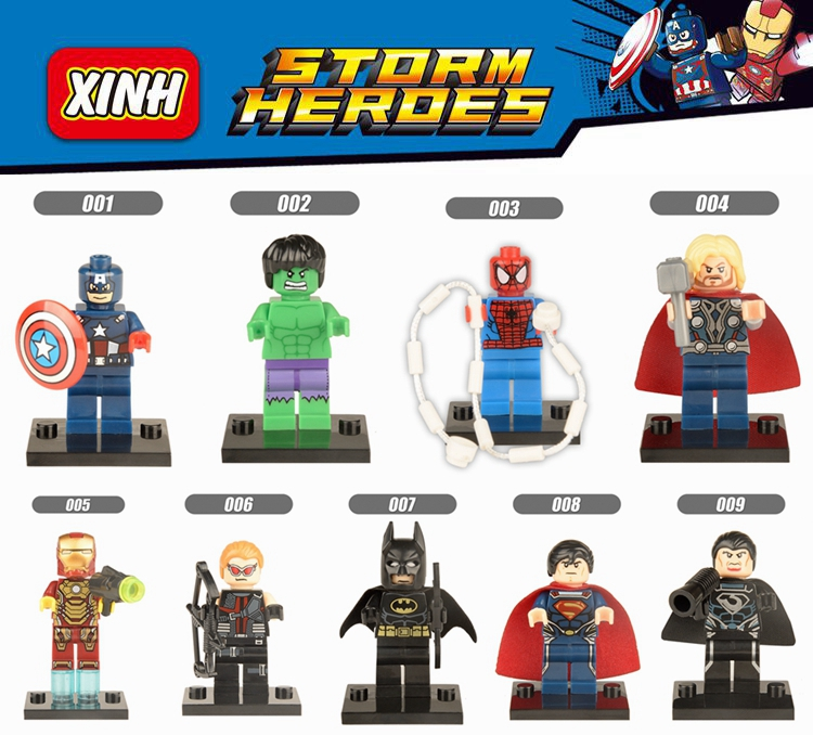 欣宏积木001-009英雄经典版人仔绿巨人蜘蛛蝙蝠侠钢铁侠雷神超人