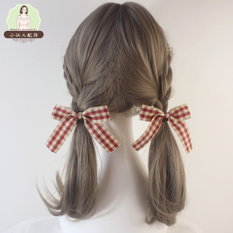 Girls heart, double horsetail, hair rope, bow knot, hair ornament, Lolita, Japanese soft girl, a pair of sweet and lovely hair circles, head ornaments