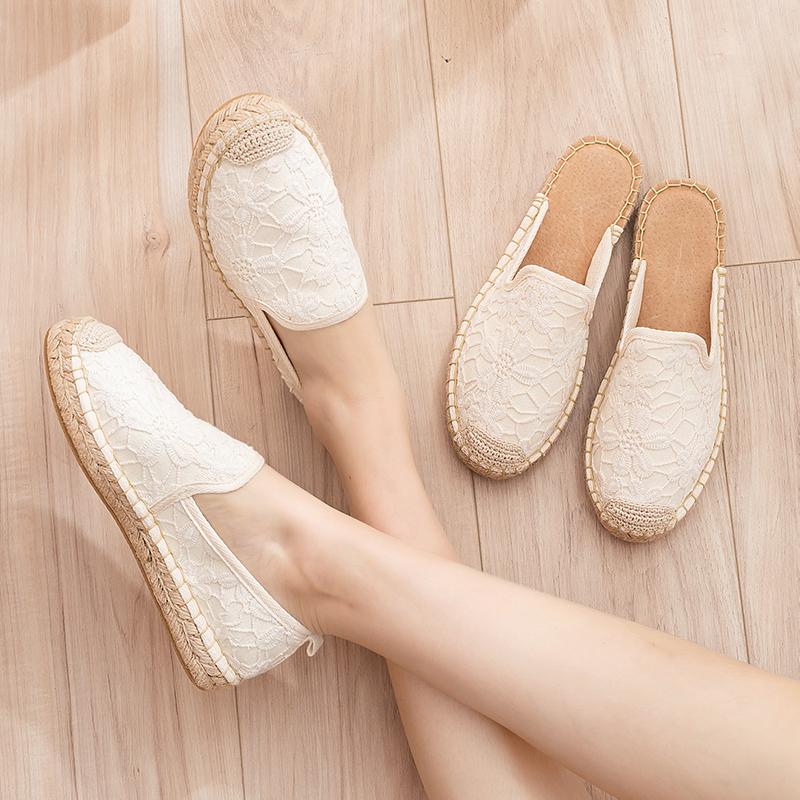 小香风草编渔夫鞋女夏软底半拖一脚蹬亚麻单鞋布鞋小白鞋平底女鞋