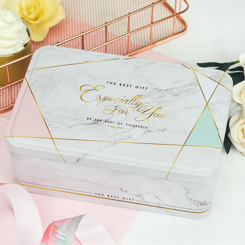 上新大理石长方形翻盖盒曲奇饼干盒糖果牛轧糖储物盒礼品包装铁盒