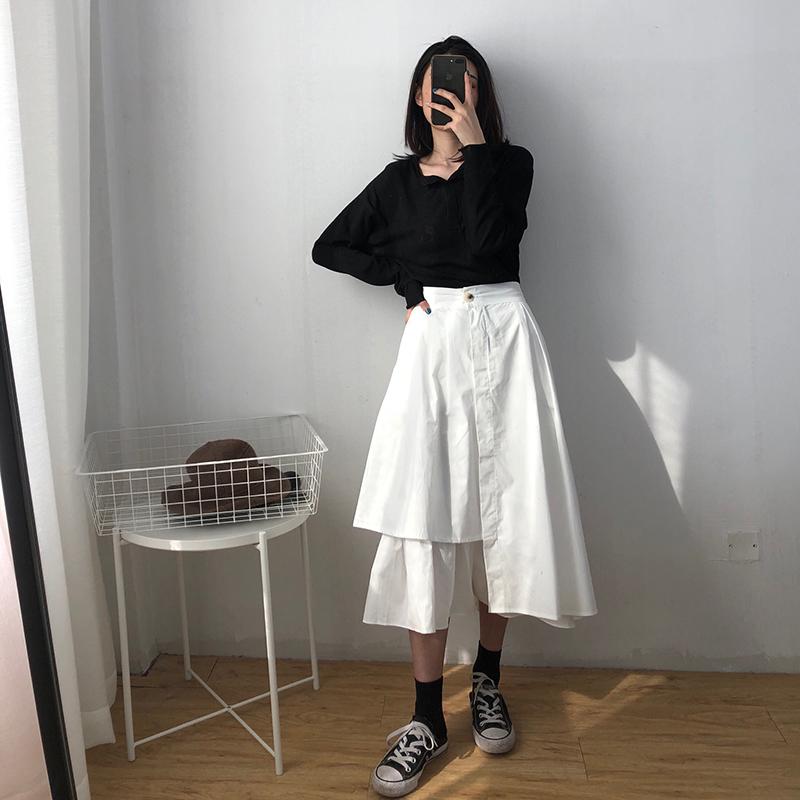 2019春夏新品中长款不规则裙子白色半身裙 高腰伞裙白裙子长裙女(非品牌)