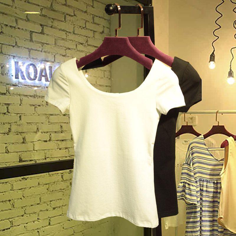 白色紧身t恤女黑色修身短袖低领大圆领短款露背上衣性感纯棉体恤