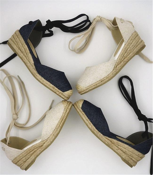 2021春半凉鞋女新款坡跟草编底渔夫鞋软包头布凉鞋系带麻绳网红女