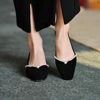 皮厚先生 中跟浅口单鞋女黑色 秋季磨砂羊皮法式串珠方头女鞋粗跟
