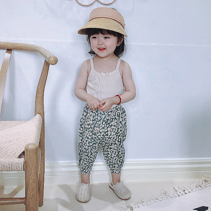 South Korea imported childrens pants summer thin girls pure cotton baby lantern Pants Boys mosquito pants wear autumn outside