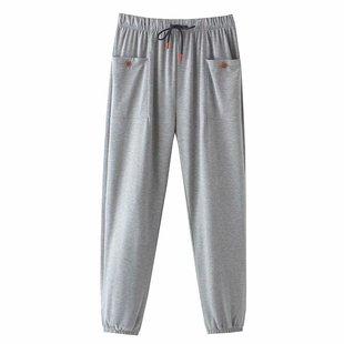 灰色运动裤女宽松束脚秋冬爆款卫裤纯棉高腰显瘦直筒小个子休闲裤