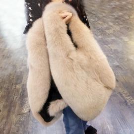 皮草马甲中长款女童亲子装冬季韩版女装仿狐狸毛修身显瘦坎肩外套图片