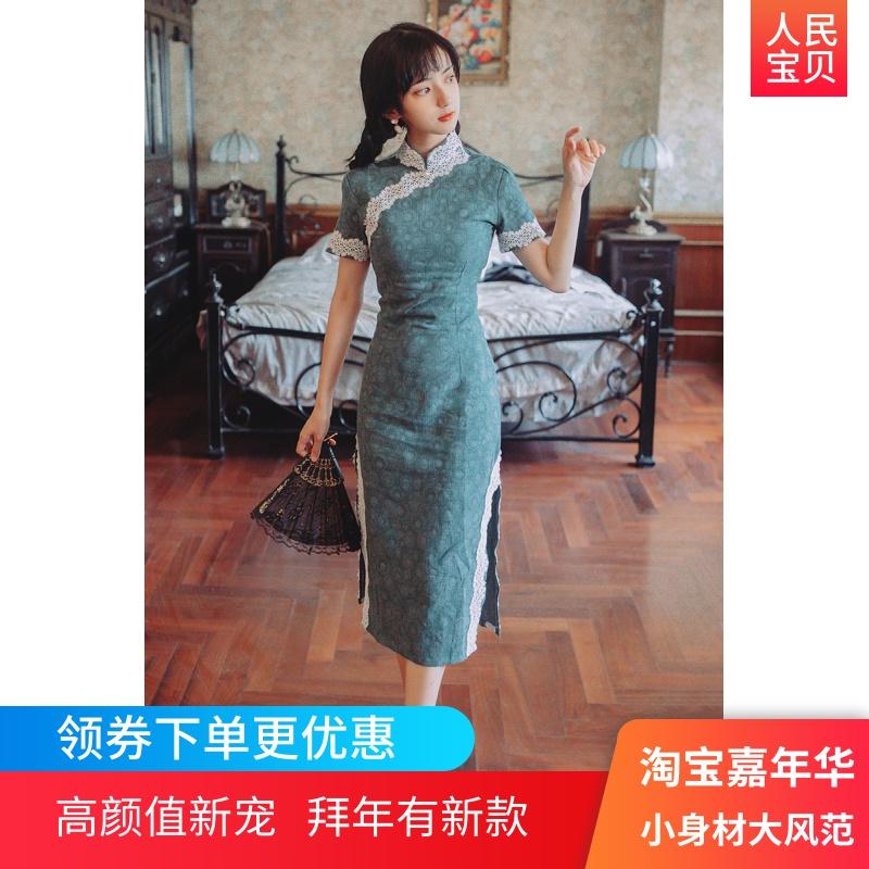 夏季女装2019新款法式小众裙子女士蕾丝新式复古改良旗袍连衣裙女