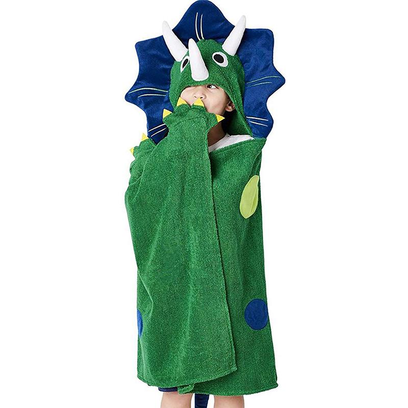 Children gift household cartoon three-dimensional dinosaur towel Boys Hooded Cloak cotton beach absorbent bath towel bathrobe