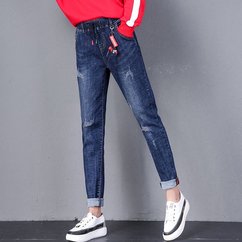High waisted jeans womens loose fit fall / winter 2019 new large stretch slim casual Harlan dad radish pants